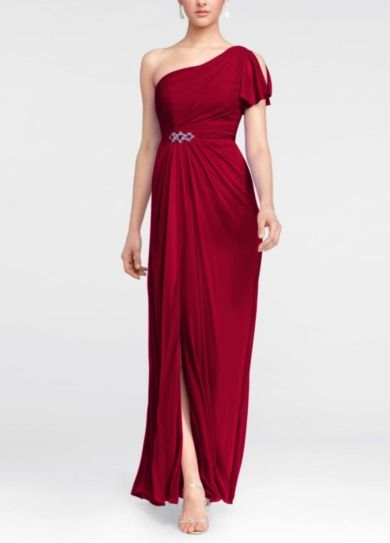 One Shoulder Beaded Dress with Side Slit