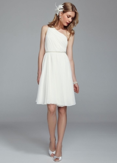 One Shoulder Chiffon Dress with Pearl Detail