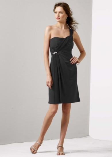 One Shoulder Jersey Dress with Pleated Cascade