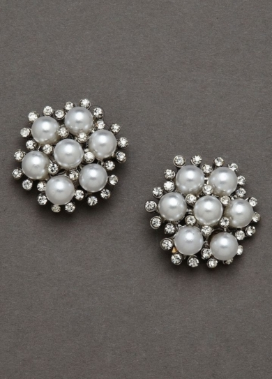 Pearl and Crystal Cluster Button Earrings