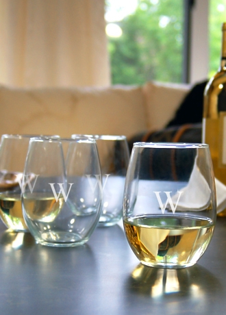 Personalized Stemless Wine Glasses set of 4
