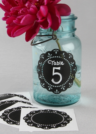 Round Doily Chalkboard Stickers Pack of 5