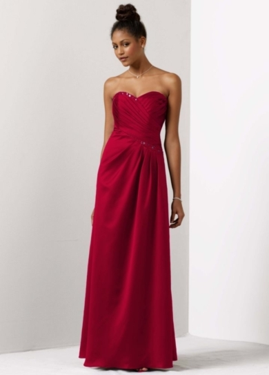 Satin A-Line Draped Gown with Beaded Neckline