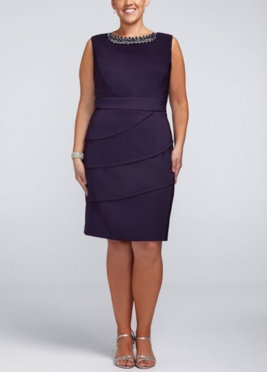 Sleeveless Twill Dress with Beaded Neckline