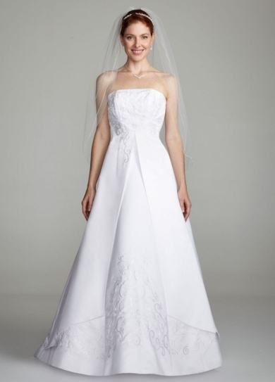 Strapless A-line Split Front Gown with Beading