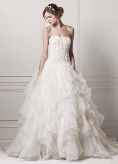 Strapless Ball Gown with Organza Ruffle Skirt