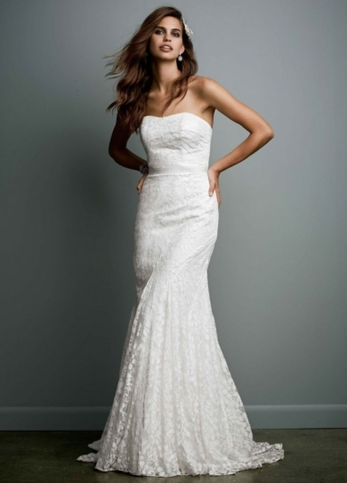 Strapless Lace Gown with Ribbon Detail
