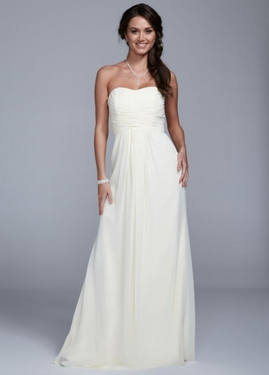 Strapless Long Chiffon Dress with Ruched Bodice