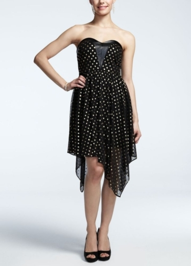 Strapless Mesh Polka Dot Short Dress
