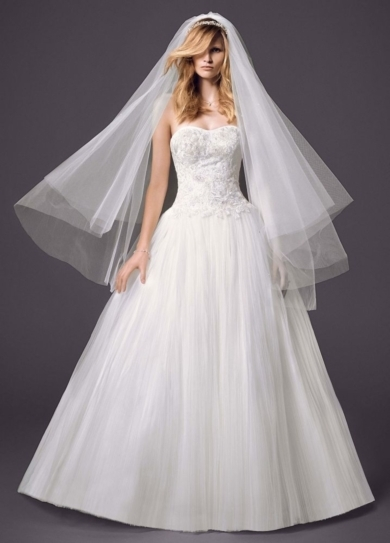 Strapless Pleated Bodice Tulle Ball Gown