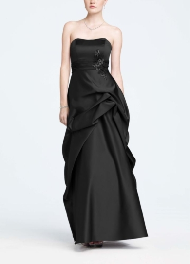 Strapless Satin and Organza Side Pick-Up Ball Gown