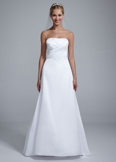Strapless Satin Beaded Gown with Pleated Bodice
