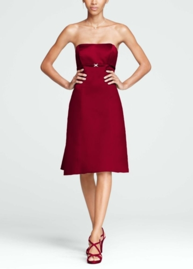 Strapless Satin Dress with Pleated Back and Brooch