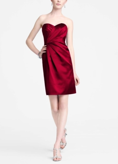Strapless Satin Short Dress with Pleating