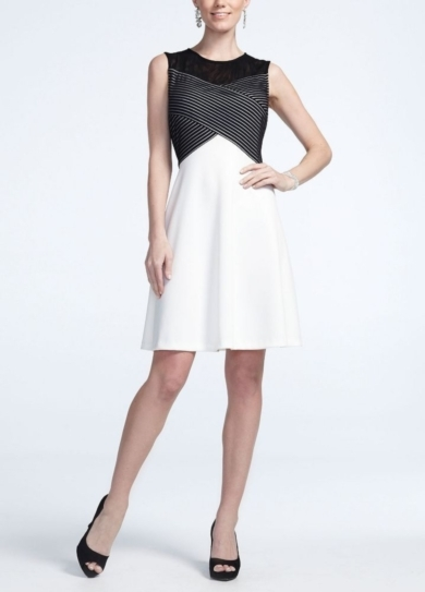 Strapless Stretch Knit Dress with Mesh Bodice