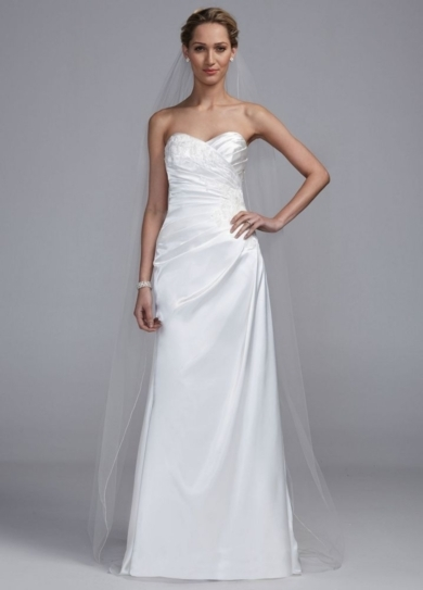 Strapless Sweetheart A Line Gown with Lace Detail