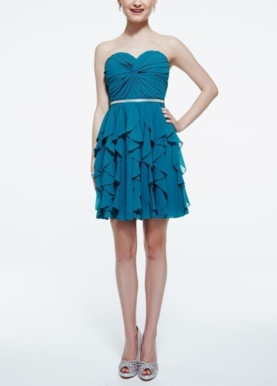 Strapless Twisted Front Chiffon Dress