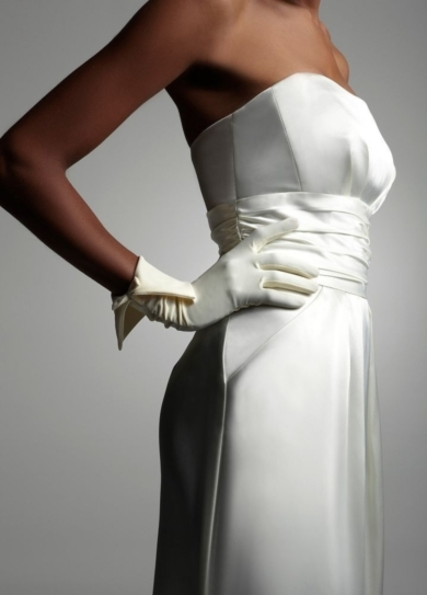 Stretch Satin Glove with Foldover Cuff