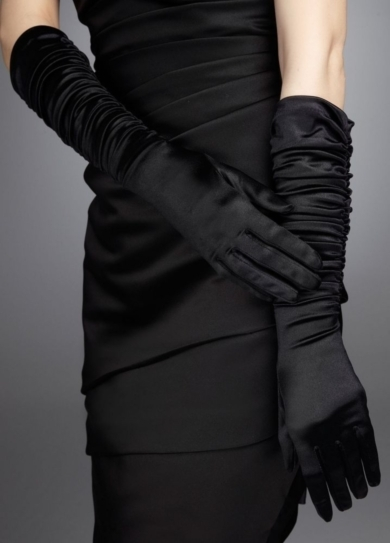 Stretch Shiny Satin Ruched Glove