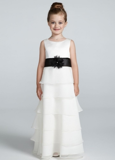 Tank Organza Tiered Chiffon Flower Girl Dress