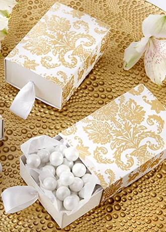 Traditional Gold Damask Favor Box Set of 24