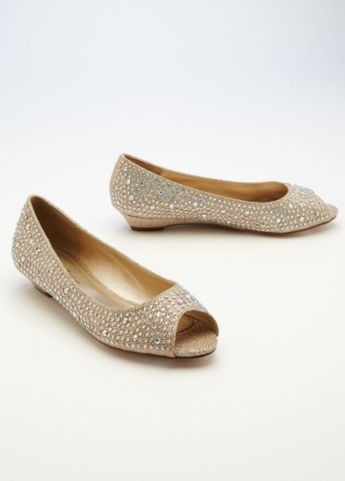 Wedding & Bridesmaid Shoes Low Wedge Peep Toe with AB Crystals