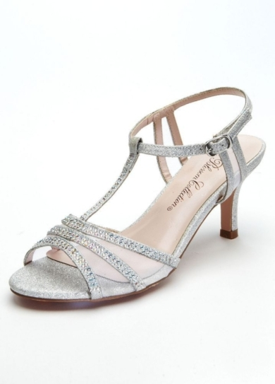 Wedding & Bridesmaid Shoes Mid Heel T Strap Sandal with Embellishment