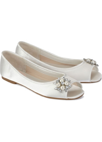 Wedding & Bridesmaid Shoes Pink Paradox Flower Peep Flat