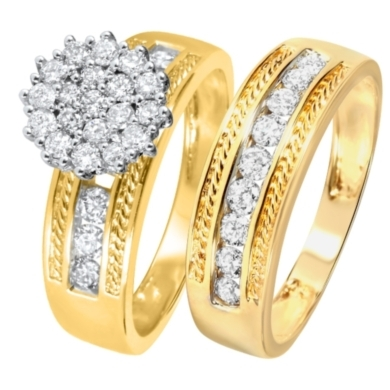 1 1/10 CT. T.W. Diamond Women's Bridal Wedding Ring Set 10K Yellow Gold