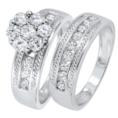 1 1/3 CT. T.W. Diamond Women's Bridal Wedding Ring Set 14K White Gold