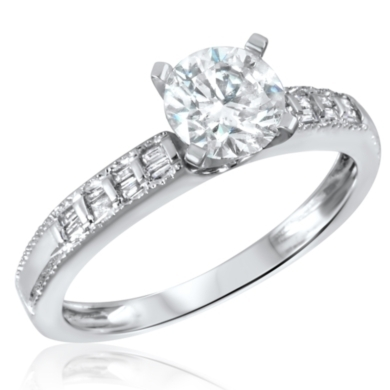 1 1/6 CT. T.W. Diamond Ladies Engagement Ring 14K White Gold