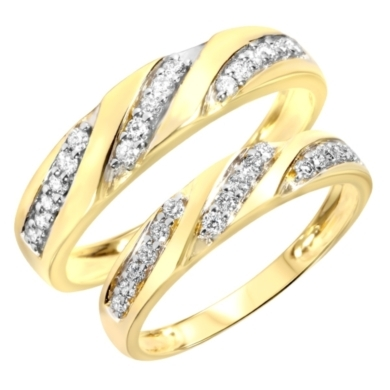 1/2 Carat T.W. Diamond Ladies' and Men's Wedding Rings 14K Yellow Gold