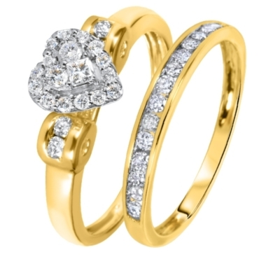 2/3 CT. T.W. Diamond Women's Bridal Wedding Ring Set 10K Yellow Gold