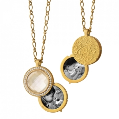 18K Yellow Gold Compass Locket wtih Faceted Snow Quartz