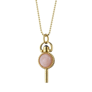 "18K Yellow Gold Miniature ""Beauty"" Rose Key Charm on 18"" Necklace"