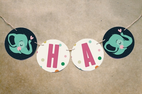 Baby Elephant Bunting Banners by Pistols