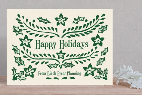 Block Printed Business Holiday Cards