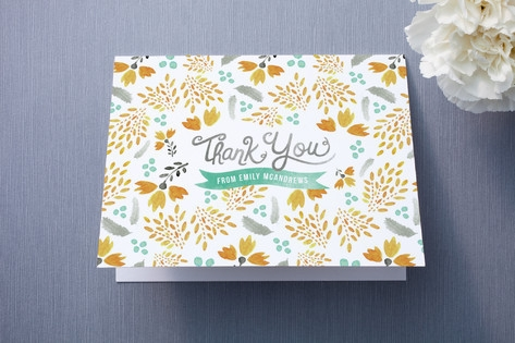 Blooms & Plumes Thank You Cards by Wondercloud Des...