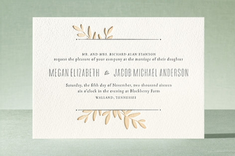 Boxwood Sprigs Letterpress Wedding Invitations