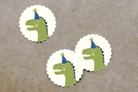 Cakeasaurus Dinosaur Scalloped Stickers by Pistols