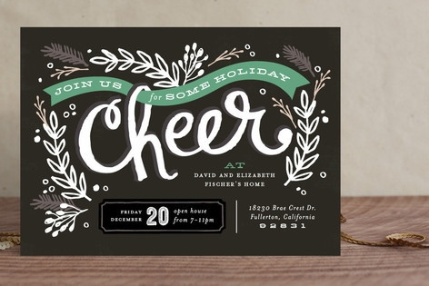 Chalkboard Cheer Holiday Party Invitations