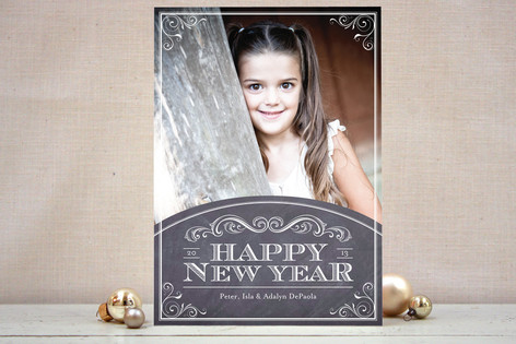 Chalkboard Year New Year's Photo Cards