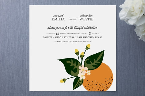Citrus Crush Wedding Invitations by Emily Ranneby