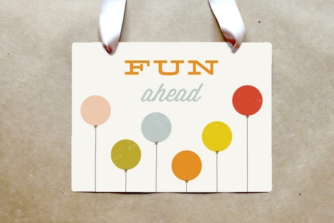 Colorful Balloons Party Greeting Signs by Amber Ba...