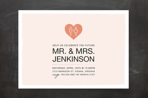 Coupled Heart Engagement Party Invitations by Mall...