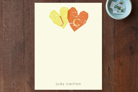 Double Heart Personalized Stationery by Everyday G...