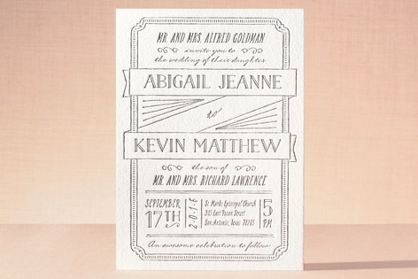 Drawn to Each Other Letterpress Wedding Invitations