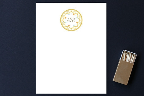Intricate Monogram Personalized Stationery by Elai...
