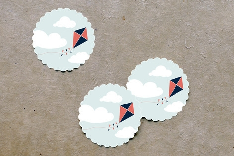 Kite Party Scalloped Stickers by lena barakat