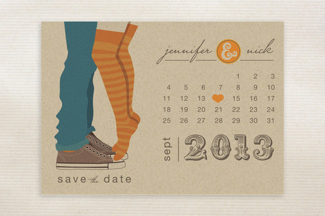 Tiptoe Kiss Save the Date Cards by lnegrafik